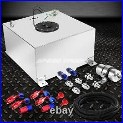 10 Gallon/38l Aluminum Fuel Cell Tank+feed Line Kit+30 Micron Gas Filter Silver
