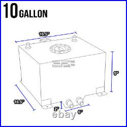 10 Gallon/38l Blue Aluminum Fuel Cell Gas Tank+level Sender+steel Oil Feed Kit