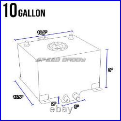 10 Gallon Aluminum Fuel Cell Tank+cap+feed Line Kit+30 Micron Gas Filter Silver