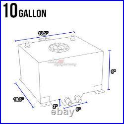 10 Gallon Blue Aluminum Fuel Cell Gas Tank+cap+level Sender+nylon Oil Feed Kit