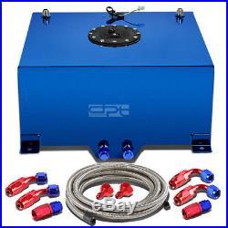 15.5 Gallon Blue Aluminum Fuel Cell Tank+cap+level Sender+steel Oil Feed Kit