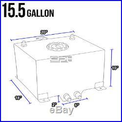 15.5 Gallon Lightweight Polished Aluminum Race Drift Fuel Cell Tank+level Sender