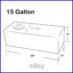 15 GALLON LIGHTWEIGHT BLACK COAT ALUMINUM GAS FUEL CELL TANK+ SENDER 30x9x 12