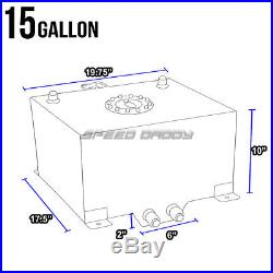 15 Gallon/57l Aluminum Fuel Cell Tank+feed Line Kit+30 Micron Gas Filter Silver