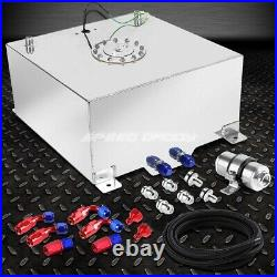 15 Gallon Aluminum Fuel Cell Tank+cap+feed Line Kit+30 Micron Gas Filter Silver