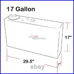 17 Gallon Top-feed Aluminum Race Slim Fuel Cell Tank+level Sender+steel Line Kit