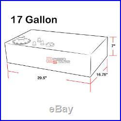 "17 GALLON TOP-FEED BLACK COATED ALUMINUM FUEL CELL TANK//2/"" SUMP+CAP+LEVEL SENDER"