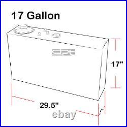 17 Gallon Top-feed Polished Aluminum Race Drift Slim Fuel Cell Tank+level Sender