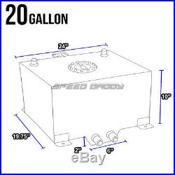 20 Gallon/78l Aluminum Fuel Cell Tank+feed Line Kit+30 Micron Gas Filter Silver