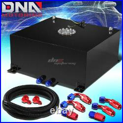 20 Gallon/78l Black Aluminum Fuel Cell Gas Tank+level Sender+nylon Oil Feed Kit