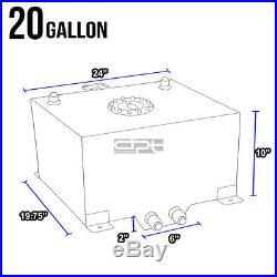 20 Gallon/78l Blue Aluminum Fuel Cell Gas Tank+level Sender+steel Oil Feed Kit