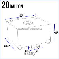 20 Gallon/78l Polished Aluminum Racing/drifting Fuel Cell Tank+cap+level Sender
