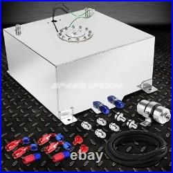 20 Gallon Aluminum Fuel Cell Tank+cap+feed Line Kit+30 Micron Gas Filter Silver