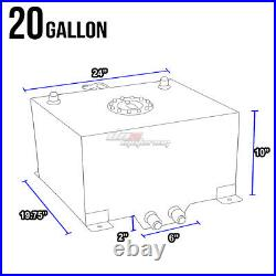 20 Gallon Blue Aluminum Fuel Cell Gas Tank+cap+level Sender+nylon Oil Feed Kit