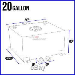 20 Gallon Light Performance Black Coated Aluminum Fuel Cell Tank+level Sender