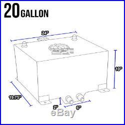 20 Gallon Lightweight Black Coat Aluminum Race Drift Fuel Cell Tank+level Sender