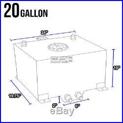 20 Gallon Lightweight Polished Aluminum Race Drift Fuel Cell Tank+level Sender