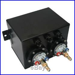 3L Black Dual Billet Fuel Surge Tank + 2 Pcs External 044 Fuel Pumps Universal
