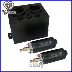 3L Dual Billet Fuel Surge Tank / Surge Tank + 2 PCS External 044 Fuel Pumps New