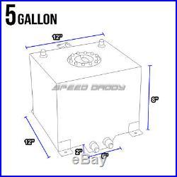 5 Gallon Aluminum Fuel Cell Tank+cap+feed Line Kit+11 Pressure Regulator Silver