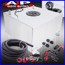 50 Liters Aluminum Fuel Cell Tank Black Cap Level Sender Nylon Oil Feed Line