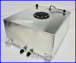 60 Litre 15 Gallon Aluminium Fuel Cell Satin + Fuel Sender Dash 10 Fitting