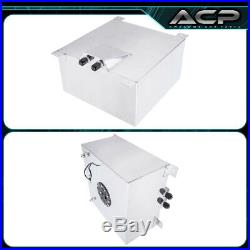 60L / 15 Gallons Aluminum Fuel Cell Tank with Black Cap + Oil Line 10AN Fitting