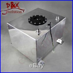 8 Gallon 30.5 Liter Polished Aluminum Racing Drift Fuel Cell Tank + Level Sender