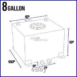 8 Gallon Black Aluminum Fuel Cell Gas Tank+cap+level Sender+nylon Oil Feed Kit