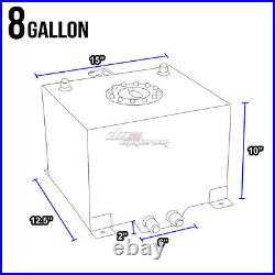 8 Gallon Blue Aluminum Fuel Cell Gas Tank+cap+level Sender+nylon Oil Feed Kit