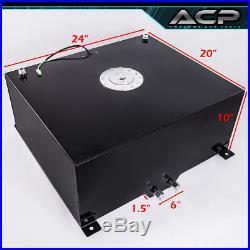 80 Liter / 21 Gallon Black Aluminum Fuel Cell Tank With Gauge Sender Chrome Cap