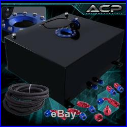 80L / 21 Gallons Black Aluminum Fuel Cell Tank with Blue Cap Oil Line 10AN Fitting