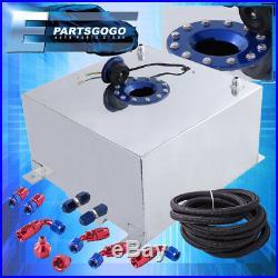 Aluminum 10 Gallon Fuel Tank with Blue Cap + Braided Nylon Oil Feed Line Swivel