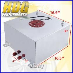 Aluminum Fuel Cell Gas Tank 10 Gallon 40L Red Cap Braided Oil Feed Line 10AN