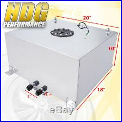 Aluminum Fuel Cell Gas Tank 15 Gallon 60 Liters with Black Cap + Oil Feed Line