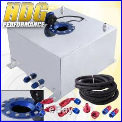 Aluminum Fuel Cell Gas Tank 15 Gallon 60 Liters with Blue Cap + Oil Feed Line