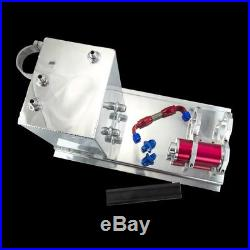 Aluminum fuel surge tank/fuel cell 5L polished AN fittings + pump mount + filter