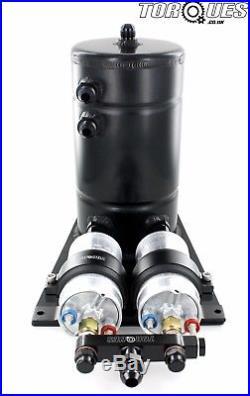BLACK Twin Bosch 044 Fuel Pumps Aluminium Surge Swirl Pot Tank Assembly AN8/AN10