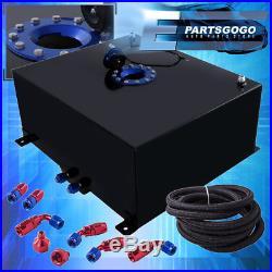 Black Aluminum 21 Gallon Fuel Cell Tank Blue Cap + Braided Nylon Oil Feed Line