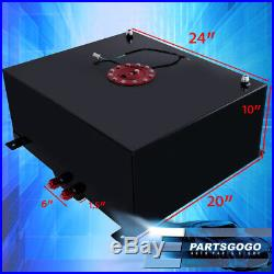 Black Aluminum 21 Gallon Fuel Cell Tank with Red Cap + Braided Nylon Oil Feed Line