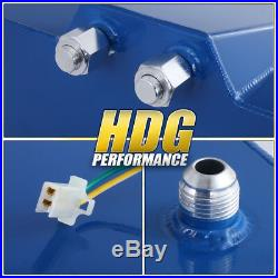 Blue Aluminum Fuel Cell Gas Tank 15 Gallon 60 Liters Chrome Cap + Oil Feed Line