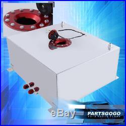 Chrome Aluminum Red Cap Car Fuel Cell Tank 21 Gallon / 80 Liters + Gauge Sender