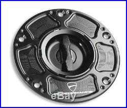 Ducati 899 959 1199 1299 PANIGALE FUEL FILLER CAP TANK ALUMINIUM, Black Cup