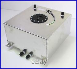 Fuel Cell 40 Litres 10 Gallon Aluminium Satin + Fuel Sender Dash 10 Fittings