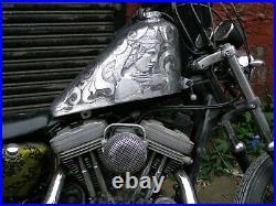 Harley Sportster Custom Bobber Large Aluminium Fuel Tank 82-03 Project Engraved1