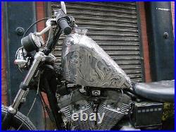 Harley Sportster Custom Bobber Large Aluminium Fuel Tank 82-03 Project Engraved2