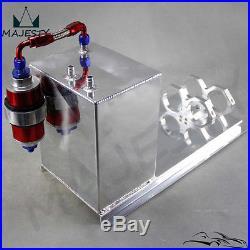 Polished Fuel Surge Tank 5L AN6 Hose fittings + Pump Mount + Filter Aluminium