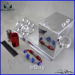 Polished Fuel Surge Tank 5L AN6 Hose fittings + Pump Mount + Filter Aluminium