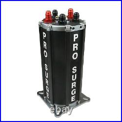 Proflow ST40008 Pro-Surge Tank, Fuel Pump System, Aluminium, Black, with Dual 34