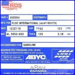 RDS Boat Fuel Tank 300584 32 Gallon 58 x 20 x 8 3/4 Inch Aluminum